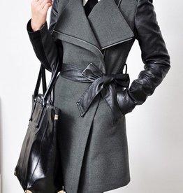 Jaza-Fashion Manteau en laine pour femme Gris