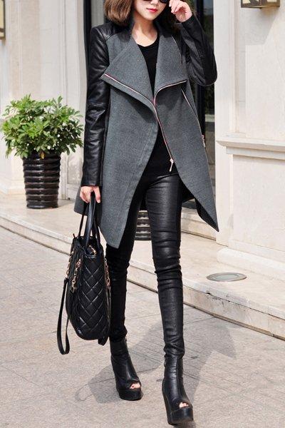 Jaza-Fashion Damen Wollmantel Grau