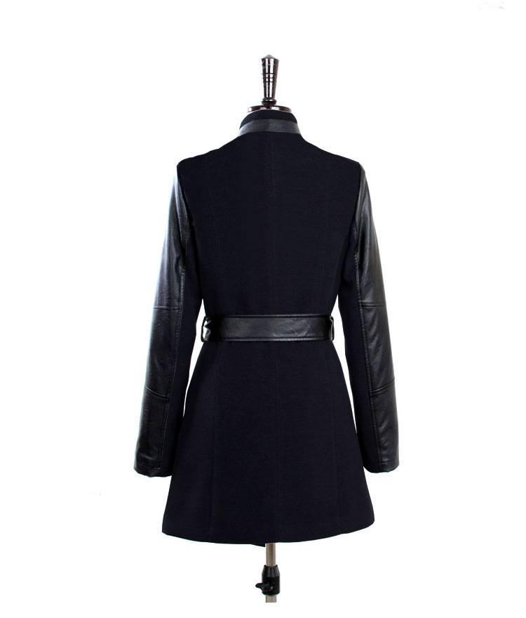 Jaza Fashion Damen Wollmantel langen Ärmeln Schwarz