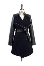 Jaza Fashion Ladies Wool Coat Long Sleeves Black