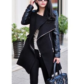 Jaza Fashion Ladies Wool Coat Long Sleeves Black