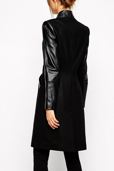 Jaza Fashion Femmes Laine Manteau Manches Longues Noir