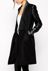 Jaza Fashion Damen Wollmantel langer Ärmeln Schwarz