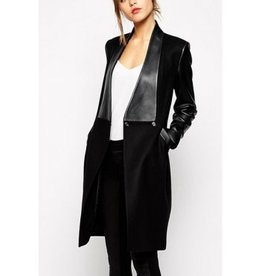 Jaza Fashion Women's Wool Coat Long Sleeves Black