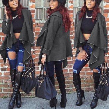 Jaza Fashion Damen Pullover mit Stehkragen langen Ärmeln Grau Wollmantel