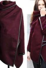Pull fashion Jaza avec col montant manches longues manteau de laine rouge