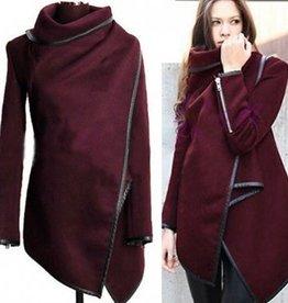 Jaza fashion Pullover mit Stehkragen langen Ärmeln Weinrot Wollmantel