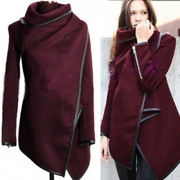 Jaza fashion sweater with stand-up collar long sleeves wine red wool coat
