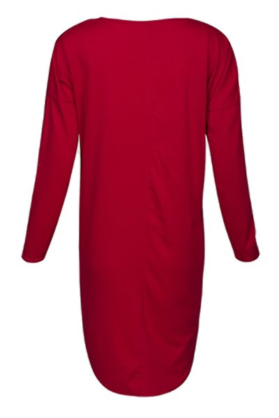 Sexy V-Neck Long Sleeves Asymmetrical Wine Red Polyester Women's Dress