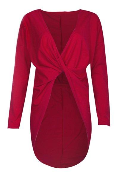 Sexy V-Ausschnitt, langen Ärmeln Asymmetrische Wein-Rot-Polyester Damen Kleid
