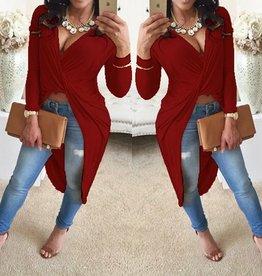 Robe à manches longues sexy col V asymétrique en polyester rouge