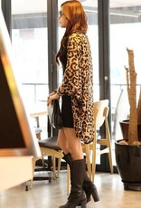 Casual Leopard Print Turndown Collar Three Quarter Sleeves Polyester Long Coat