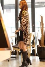 Lässige Leopard-Druck Umlegekragen Dreiviertel-Ärmeln Polyester-langer Mantel