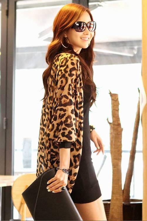 Manteau long en polyester à manches trois-quarts à manches longues et à imprimé léopard