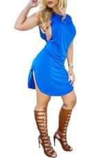 Sexy O-Ausschnitt, Damen Mini-Kleid Blau