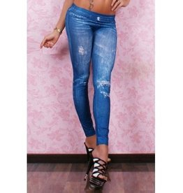 Jaza Fashion Ladies Casual Rivets Print Leggings Blue