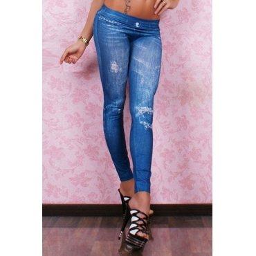 Jaza Fashion Ladies Casual Rivets Print Leggings Blue