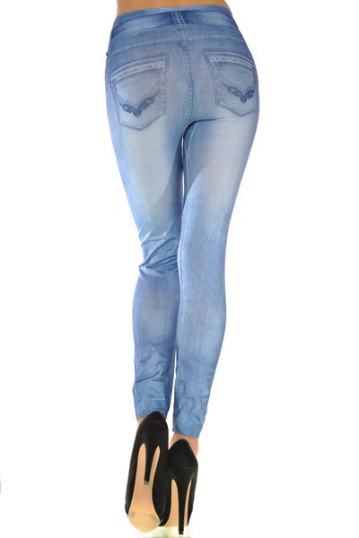 Jaza Fashion Women's Leggings Casual Blue Blending