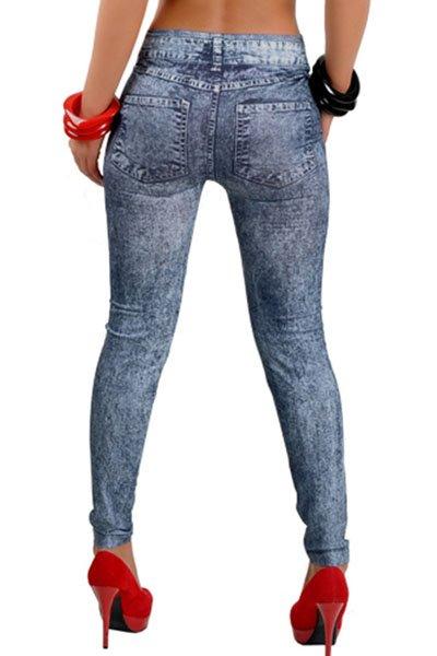 Jaza Fashion Leggings Mélange bleu élastique