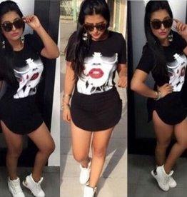 Jaza Fashion O-cou à manches courtes Mini robe noire