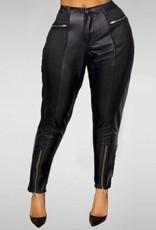 Jaza Fashion Damen High Waist Leder-Optik Skinny Hose mit Reißverschluss Schwarz