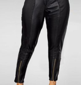 Jaza Fashion Women's High Waist Leather Look Skinny Pants with Zipper Black