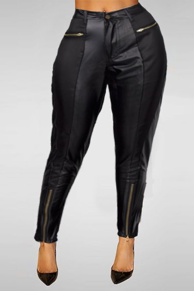Jaza Fashion Women's High Waist Leather Look Skinny Pants with Zipper Black
