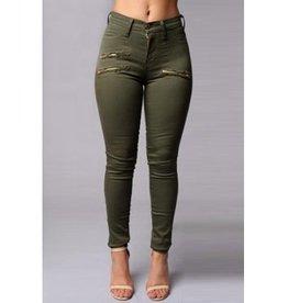 Jaza Fashion Women's Stylish High Waist with Zipper Skinny Pants Decorative Green