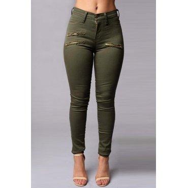 Jaza Fashion Skinny Pantalon en taille haute avec fermeture, Vert