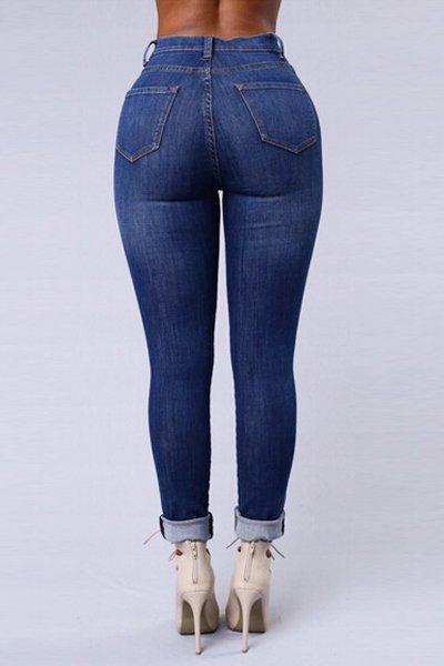Jaza Fashion Skinny Jeans en taille haute Bleu