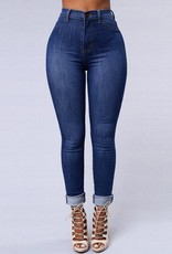 Jaza Fashion Damen High waist Skinny Jeans Hose Blau