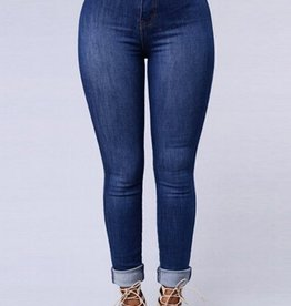 Jaza Fashion Damen High waist Skinny Jeans Hose Blau