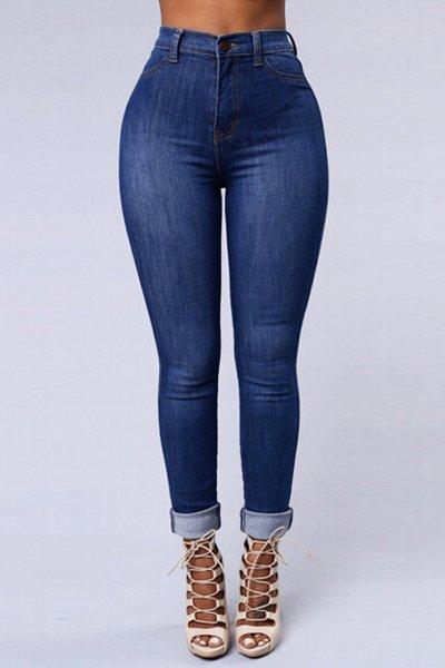 Jaza Fashion Women's High Waist Skinny Jeans Blue