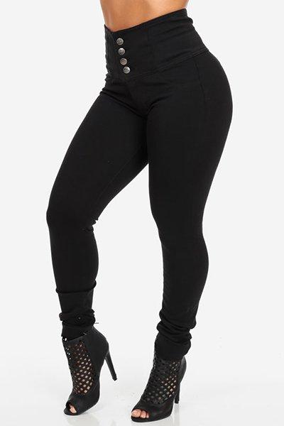 Jaza Fashion Damen Stylish High Waist Skinny Jeans Schwarz