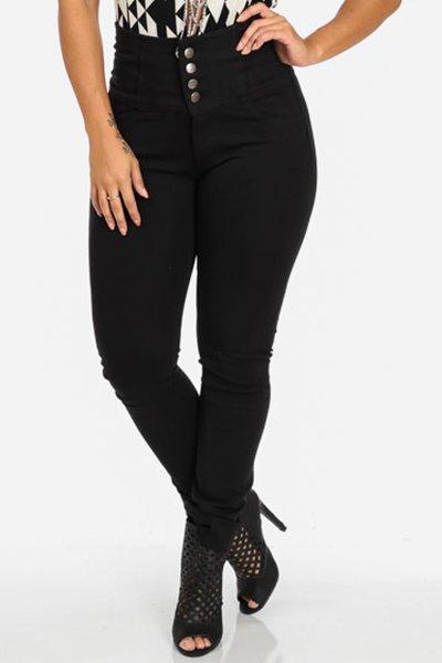 Jaza Fashion Skinny Jeans en taille haute Noir