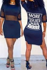 Mini-robe imprimée pour femme avec col rond bleu foncé