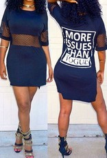 Women's Sexy Printed Mini Dress with O-neck Dark Blue
