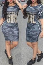 Sexy Mini-robe imprimée pour femmes avec manches courtes à col Rond