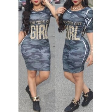 Women's Sexy Printed Mini Dress with O-neck Short Sleeves