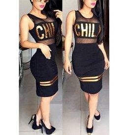 Jaza Fashion Damen O-ausschnitt ärmellos Kleid