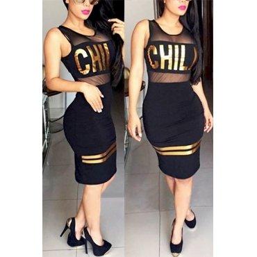 Jaza Fashion Damen O-ausschnitt ärmellos Kleid,