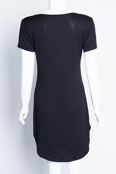 Jaza Fashion Women's High-Slit Mini Dress, O-neck Short Sleeves Black