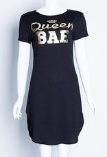 Jaza Fashion Mini-robe à fente, manches courtes à col rond noir