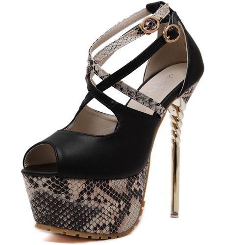High Heel Pumps Snakeskin/Noir