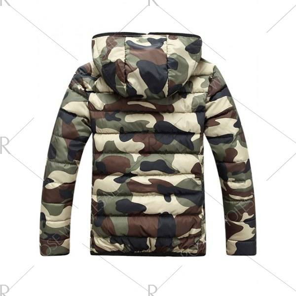 Camouflage Herren Winterjacken mit Reißverschluss & Kapuze Slim Fit