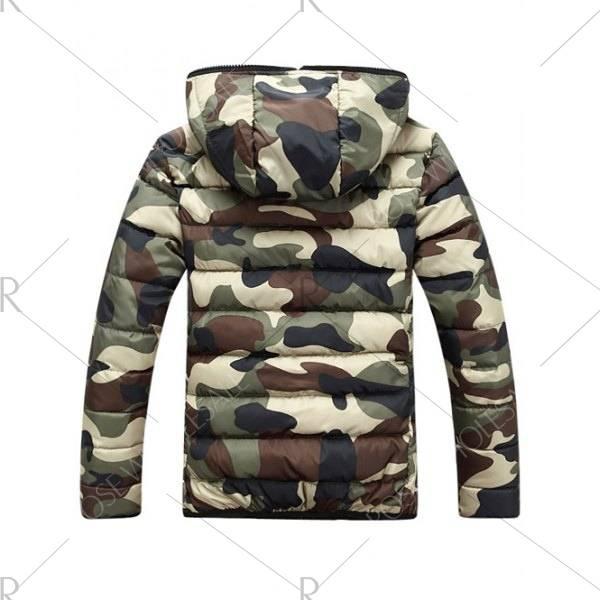 Veste d'hiver camouflage pour hommes avec fermeture à glissière et capuche coupe slim