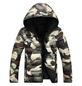 Camouflage Men's Winter Jackets with Zipper and Hood Slim Fit