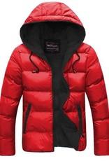 Vestes d'hiver pour hommes avec fermeture éclair et capuche Slim Fit Red