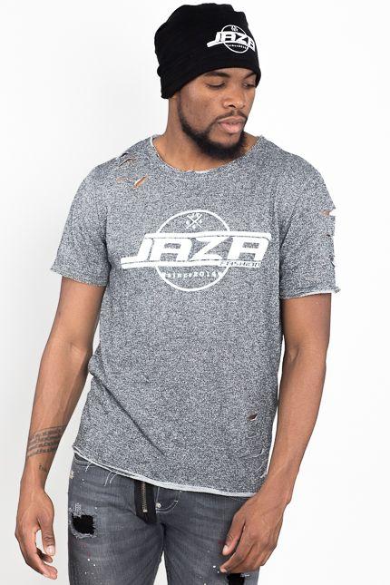 best service 33231 a35a5 Jaza Fashion Herren T-Shirt Basic Regulär Destroyed Zerrissen Grau