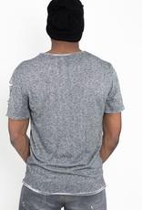 Jaza Fashion Jaza Fashion T-Shirt Homme Base Regular Détruit Déchiré Noir